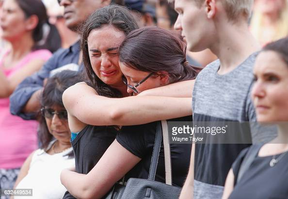 Crowds at a memorial held for victims of the Bourke Street Mall Attack at Federation Square on January 23 2017 in Melbourne Australia Five people...