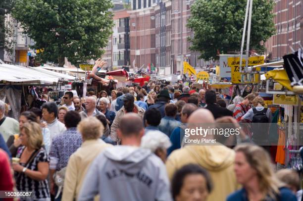 Crowds at Albert Cuyp Market in De Pijp area.