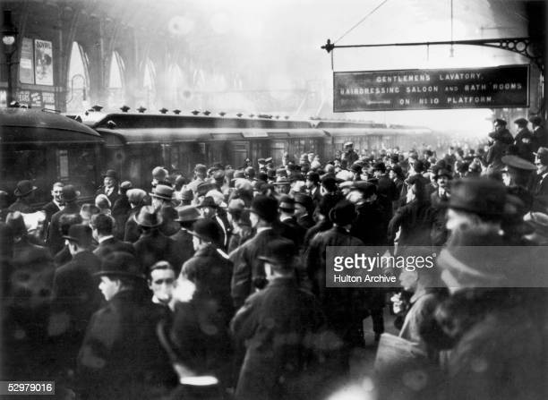 Crowds at King's Cross Station await the arrival of crime writer Agatha Christie and her husband Colonel Archibald Christie December 1926 The famous...