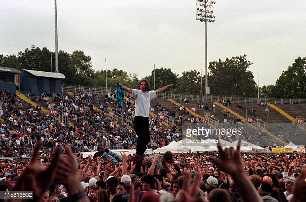 Crowds at Pearl Jam concert during Pearl Jam in Concert at Downing Stadium 1996 at Downing Stadium in New York City New York United States