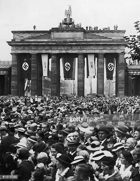 Crowds at the Brandenburg Gate Berlin awaiting a parade celebrating the 700th anniversary of the city 15th August 1937
