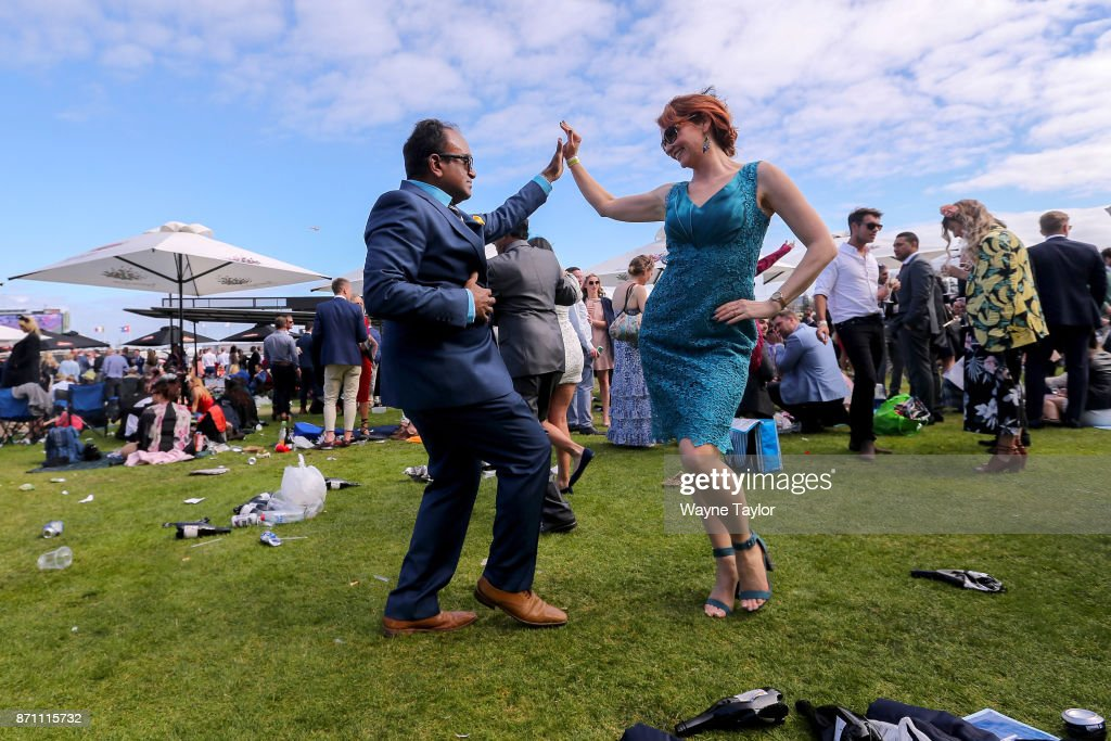 Crowds at the end of the day on Melbourne Cup Day at Flemington Racecourse on November 7, 2017 in Melbourne, Australia.