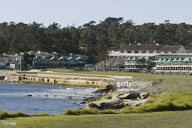 Crowds at the18th hole of Pebble Beach Golf Links watch the action during the ATT Pebble Beach National ProAm on February 8 2003in Pebble Beach...