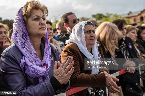 Crowds attend a canonization ceremony for victims of the Armenian genocide at the Mother See of Holy Etchmiadzin a complex that serves as the...