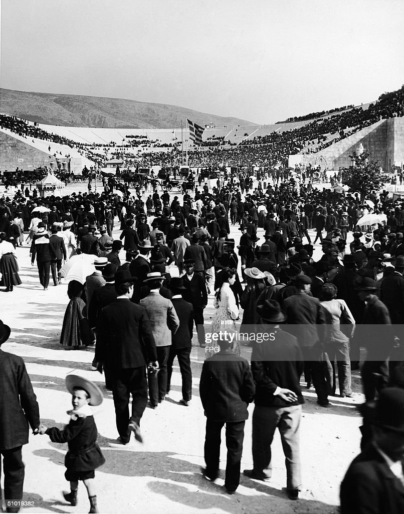 Crowds begin to arrive at the restored Olympic Stadium in Athens, Greece, early April, 1896. These Athens games were the first of the modern era of the Olympics.