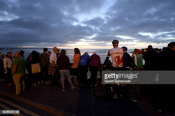 Crowds begin to gather before the swim start of Ironman Wales on September 18 2016 in Pembroke Wales