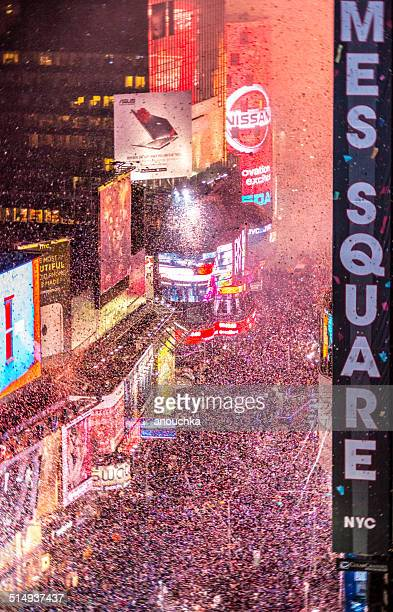 Crowds celebrating New Year on Times Square, NYC