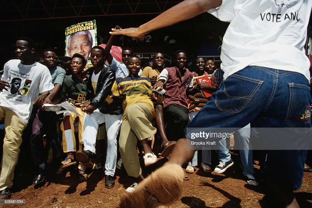 Crowds dance at a Nelson Mandela campaign event After more then 27 years in jail as an antiapartheid activist Nelson Mandela lead a 1994 campaign for...