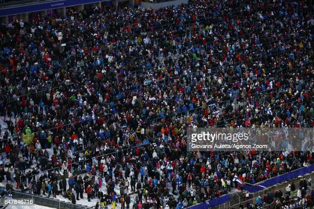 Crowds during the FIS Nordic World Ski Championships Men's Team Ski Jumping HS130 on March 4 2017 in Lahti Finland