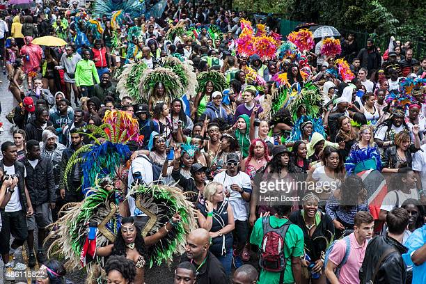 Crowds during the Notting Hill Carnival at Notting Hill on August 31 2015 in London England