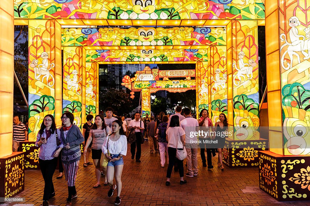 Crowds enjoying the Chinese New Year Lantern Festival at Tumbalong Park on February 12, 2016 in Sydney, Australia. The lighting of lanterns is a centuries old tradition that marks the end of the Chinese New Year Festival.