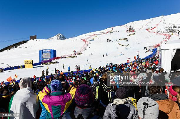Crowds enjoying the racing during the Audi FIS Alpine Ski World Cup Finals Men's Slalom and Women's Giant Slalom on March 20 2016 in St Moritz...