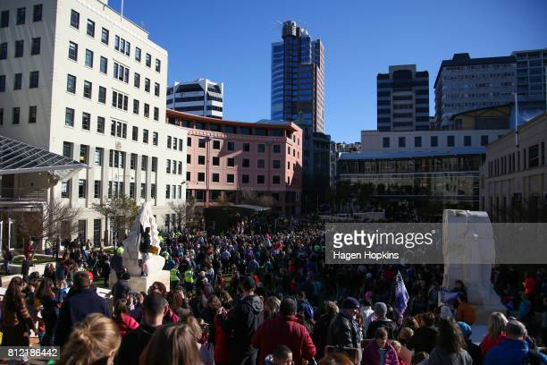 Crowds fill Civic Square during the Team New Zealand Americas Cup Wellington Welcome Home Parade on July 11 2017 in Wellington New Zealand