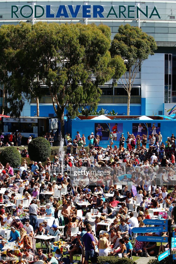 Crowds fill Melbourne Park during day six of the 2013 Australian Open at Melbourne Park on January 19, 2013 in Melbourne, Australia.