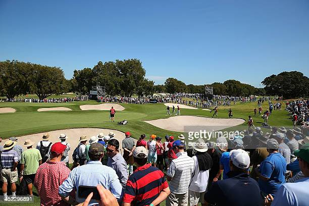 Crowds flock to watch Adam Scott and Jason Day of Australia during day one of the 2013 Australian Open at Royal Sydney Golf Club on November 28 2013...