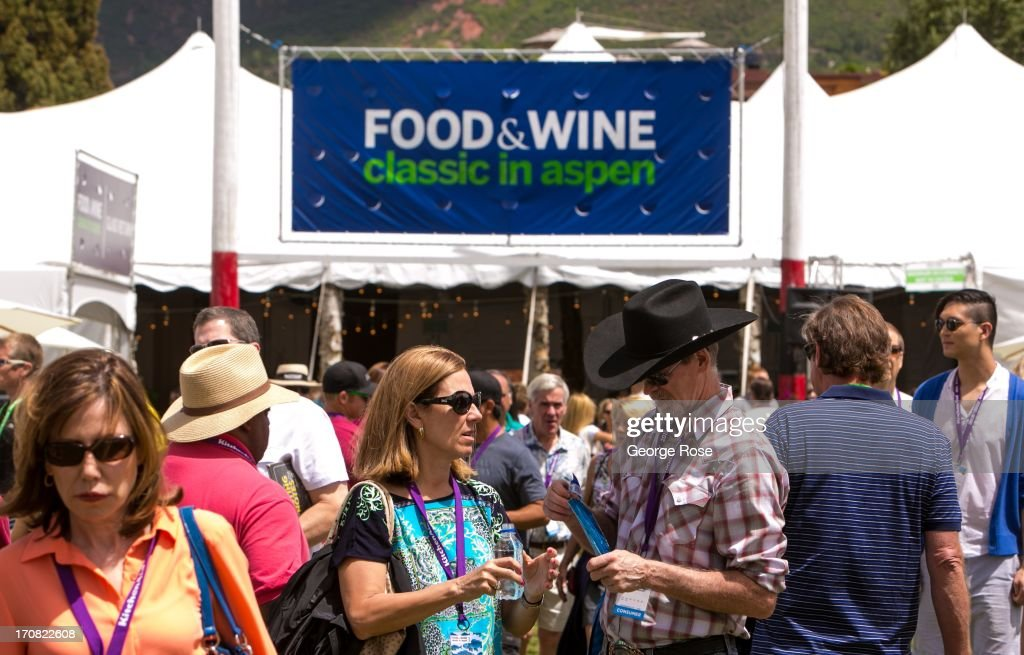 Crowds flow into the tent pavilions for the Aspen Food & Wine Classic Grand Tastings on June 14, 2013, in Aspen, Colorado. The 31st Annual Food & Wine Classic brings together the world's top chefs and vintners in a culinary and beverage celebration.