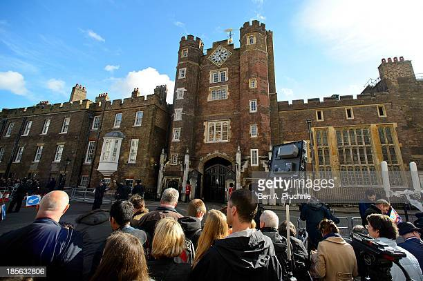 Crowds gather ahead of the christening of HRH Prince George Of Cambridge at St James's Palace on October 23 2013 in London England