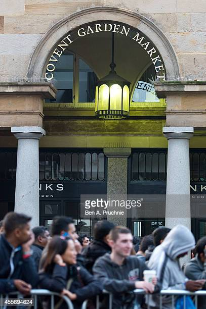Crowds gather ahead of the launch of the iPhone 6 at the Apple store Covent Garden on September 19 2014 in London England
