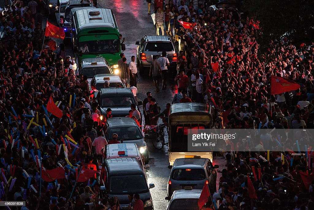 Crowds gather as they take part of the rally outside National League for Democracy office on November 9 2015 in Yangon Myanmar Noble laureate Aung...