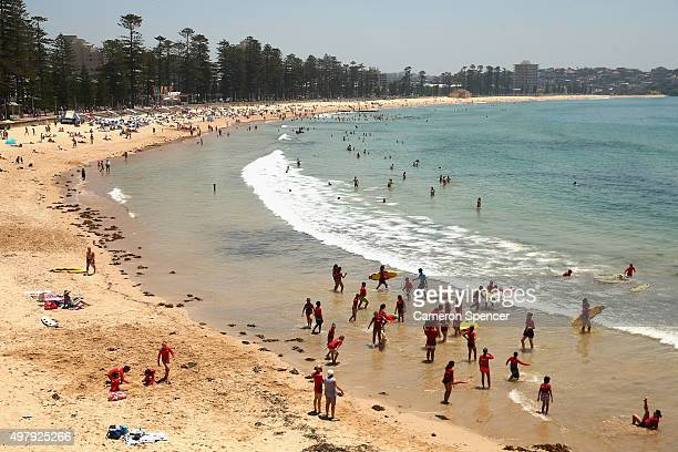 Crowds gather at Manly beach on November 20 2015 in Sydney Australia The East coast of Australia has has been experiencing a heatwave with...