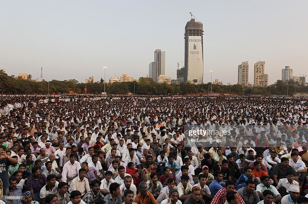 Crowds gather at the funeral of Shiv Sena Supremo Bal Thackeray at Shivaji Park Ground, Dadar, on November 18, 2012 in Mumbai, India. Bala Saheb Thackeray passed away on November 17, 2012 after cardiac arrest.