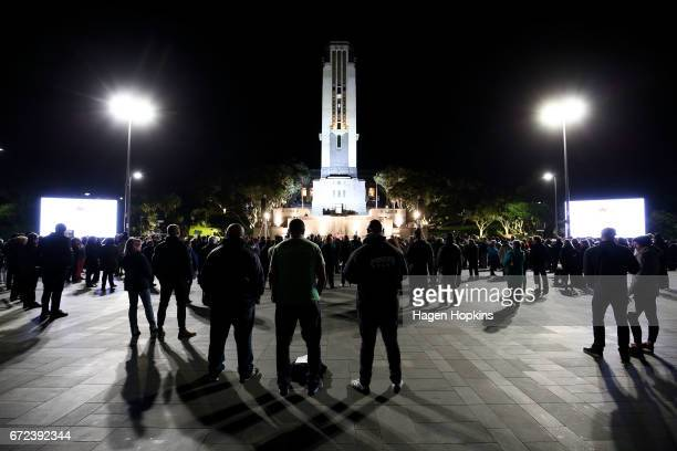Crowds gather before Anzac Day dawn service at Pukeahu National War Memorial Park on April 25 2017 in Wellington New Zealand In 1916 the first Anzac...