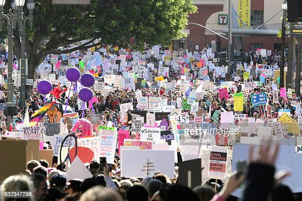 Crowds gather during the Women's March Los Angeles on January 21 2017 in Los Angeles California