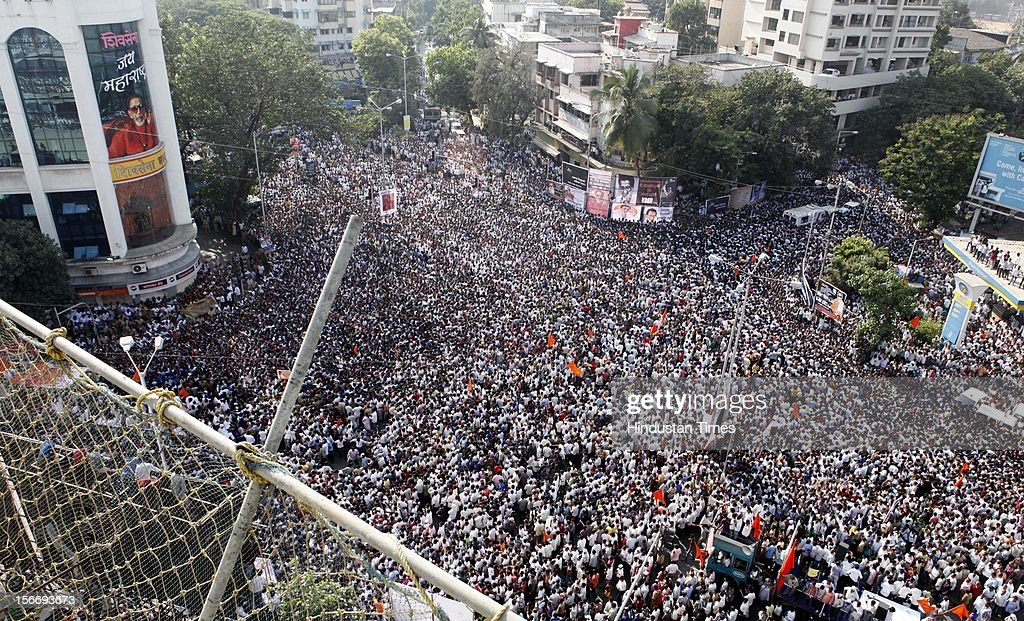 Crowds gather for Balasaheb Thackeray's funeral at Shivsena Bhavan at Dadar on November 18, 2012 in Mumbai, India. Bal Thackeray passed away on November 17, 2012 at the age of 86 years.