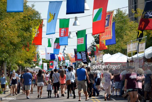 Crowds gather for the 14th annual Festival Italiano at Belmar shopping center on September 9 2017 in Lakewood Colorado The festival that celebrates...