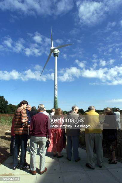 Crowds gather for the turning on of the world's most efficient wind turbine in Swaffham Norfork The 1 million 66 meters high Enercon E66 15 MW...