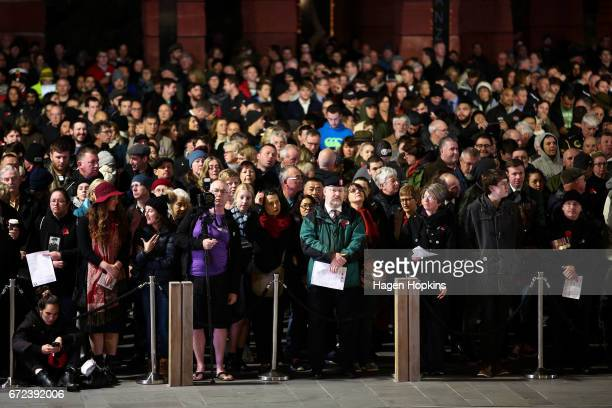 Crowds gather in front of the Australian Memorial during Anzac Day dawn service at Pukeahu National War Memorial Park on April 25 2017 in Wellington...