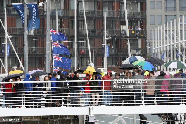Crowds gather in the Viduct Basin during the Team New Zealand Americas Cup Welcome Home Parade on July 6 2017 in Auckland New Zealand