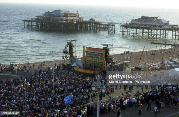 Crowds gather on the beach in Brighton prior to the free concert by Groove Armada and Fat Boy Slim part of the Channel 4 Summer Tour Channel 4 have...