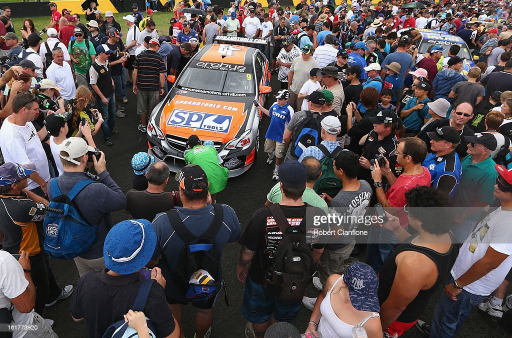 Crowds gather to look at the #9 SP Tools Racing Mercedes during the 2013 Official V8 Supercars test day at Sydney Motorsport Park on February 16, 2013 in Sydney, Australia.