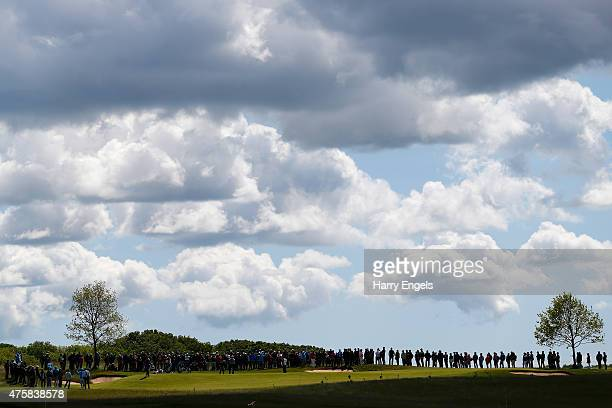 Crowds gather to watch the Jimenez/Bjorn/Noren group on the fourth green on day one of the Nordea Masters at the PGA Sweden National on June 4 2015...