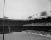 Crowds in the stands at Yankee Stadium in the Bronx New York City circa 1948 The stadium is the home of the New York Yankees baseball team