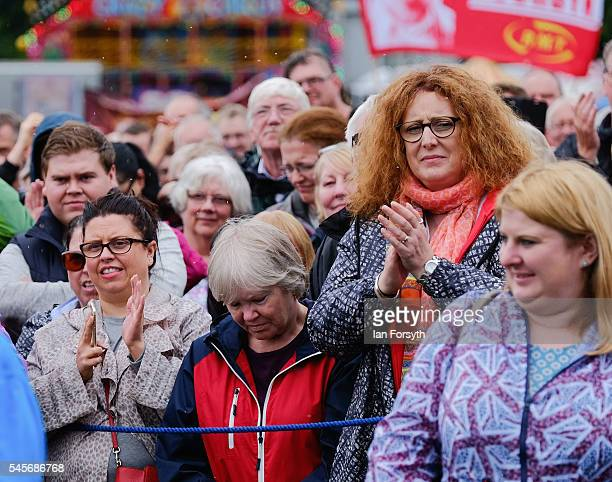 Crowds listen to speakers including Labour Party leader Jeremy Corbyn during the 132nd Durham Miners Gala on July 9 2016 in Durham England More than...