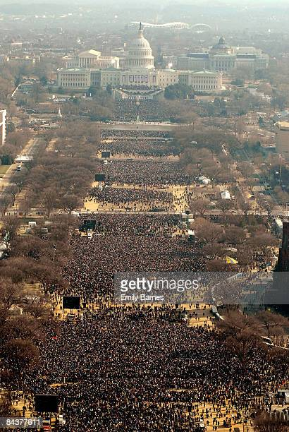 Crowds look towards the Capitol during the inauguration of Barack Obama as the 44th President of the United States of America on the National Mall...