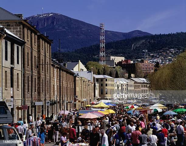 Crowds milling at Salamanca market - Hobart, Tasmania