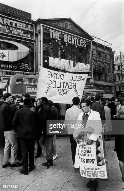 Crowds of fans in Piccadilly Circus before the premiere of the new Beatles film 'Help' at the London Pavilion 29th July 1965