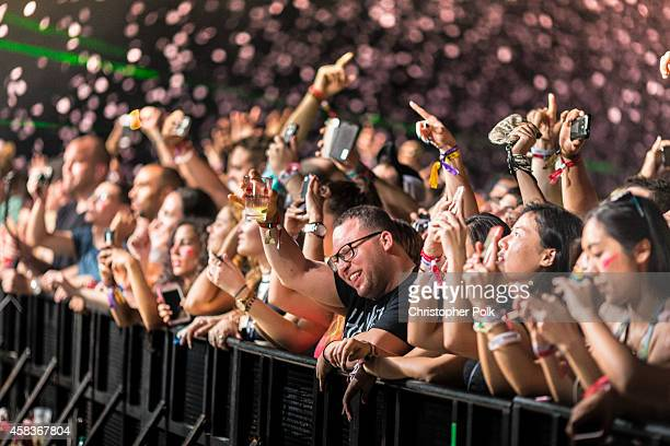 Crowds of fans watch during the Bacardi Triangle event on November 1 2014 in Fajardo Puerto Rico The event saw 1862 music fans take on one of the...