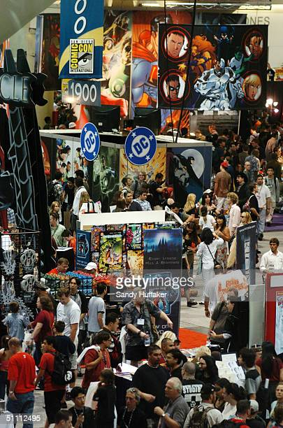 Crowds of people check out the exhibits during the ComicCon Convention July 24 2004 in San Diego California ComicCon is the world's larget comic book...