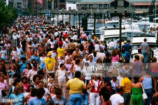 Crowds of people on the street in Baltimore, Maryland