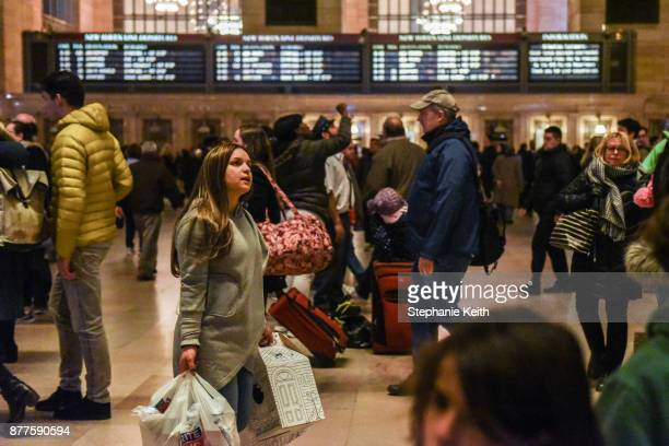 Crowds of people pass through Grand Central Station ahead of the Thanksgiving holiday on November 22 2017 in New York New York