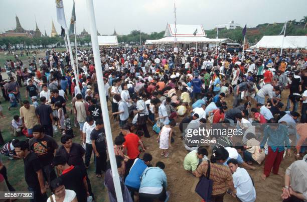 Crowds of people scour the ground for grains of rice ritually sown in the Royal Field during the royal ploughing ceremony The royal ploughing...