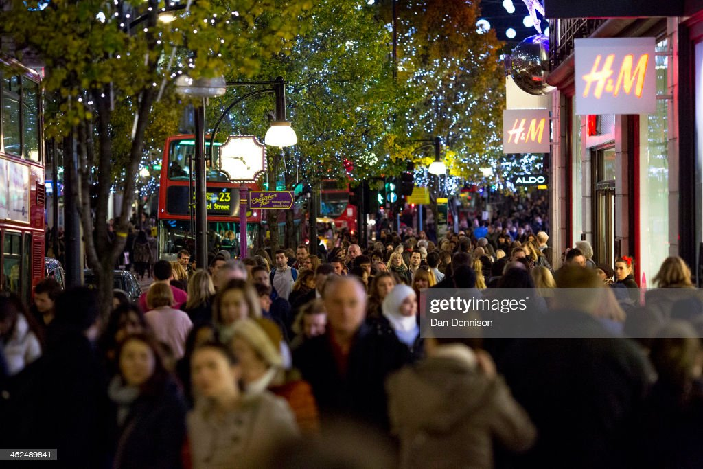 Crowds of people shop on Oxford Street on November 29, 2013 in London, United Kingdom. Though traditionally a US phenomenon, 'Black friday' sales appear to have taken hold in the UK with many retailers offering large discounts for one day only, mimicking the behaviour of their American counterparts.