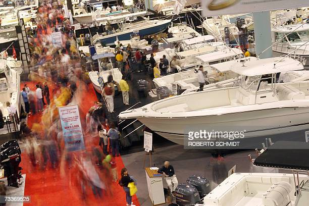 Crowds of people walk in the aisles of the 2007 Miami International Boat Show held at the Miami Beach Convention Center in Miami Beach Florida 18...