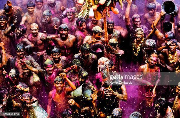 Crowds of pilgrims playing Huranga Holi on March 2 at Dauji Ka Mandir Baldev India