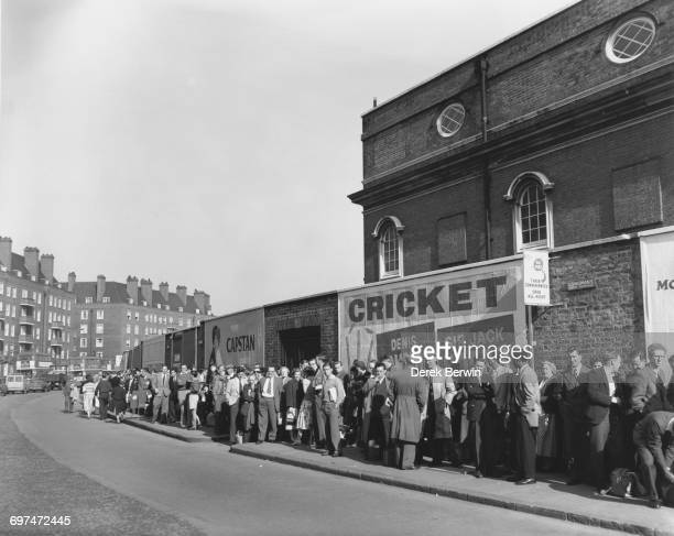 Crowds of spectators queue up for tickets to see the opening day of the fifth Test match of the series between England and the West Indies on 22...