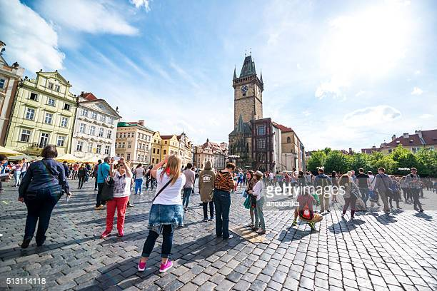 Crowds of tourists on Prague Old Town Square